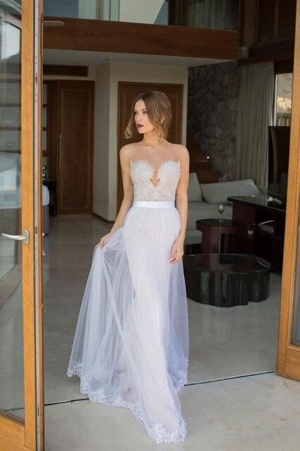 Unique Beach Wedding Dresses Sweetheart Neckline Beaded Top Open ...