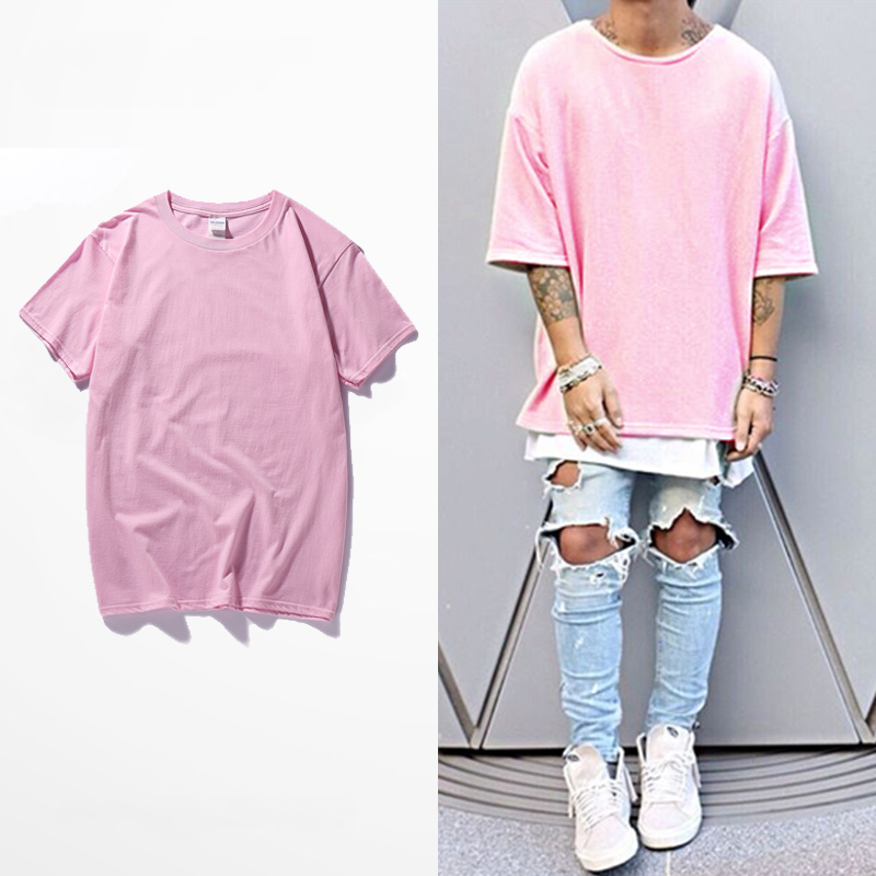 Pink Hipster Harajuku T Shirt Men Casual T-shirt Men's Hip Hop Short Sleeve T Shirt Homme Camiseta Jersey Tee Top Brand Clothing