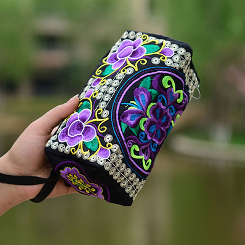 Handbag Purse Flowers Embroidery Female Bag Ethnic Long Women National BVN66 Wallet Phone