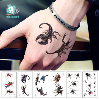 Rocooart RC411-416 Waterproof Tattoos Sticker Colorful True 3D Insect Halloween Temporary Tattoo Stickers Body Art Flash Tattoo image