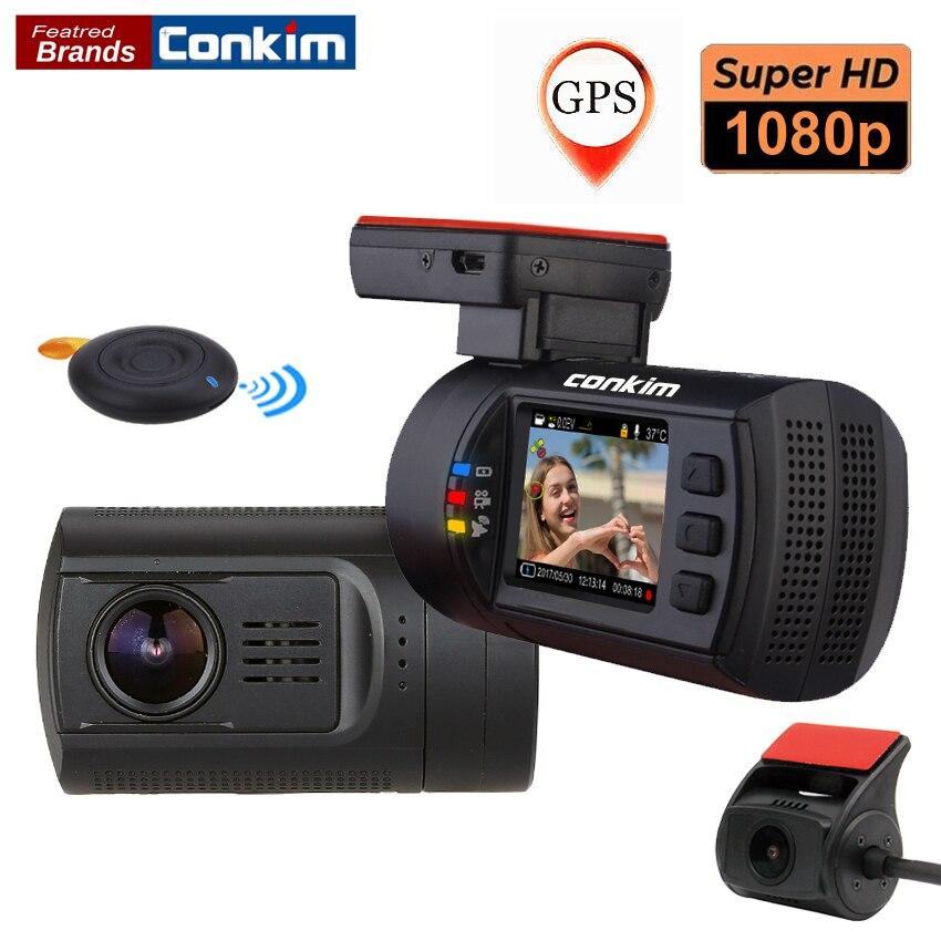 Conkim Lente Dupla Do Carro Traço GPS Câmera Frontal Do DVR 1080 P FHD + Câmera Traseira 1080 P FHD Guarda de Estacionamento Auto Secretário Mini 0906 Novatek
