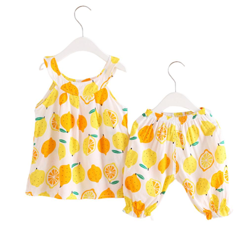 Girl Kid Fashion Vest Suits Pattern Sleeveless Sling Tops Pants clothes in Clothing Sets from Mother Kids