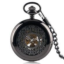 Classic Mechanical Hand Winding Black Grilles Pocket Watch Chain Skeleton Hollow Men Women Steampunk Half Hunter Luxury Gift