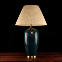 Chinese Style Creative Handmade Deep Blue Ceramic Fabric E27 Table Lamp For Wedding Decor Living Room