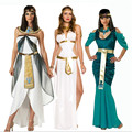 2016new high quality Cleopatra Costumes Sexy Queen clothing Greek Goddess Cosplay Party Dress Athena Costume Halloween for Women