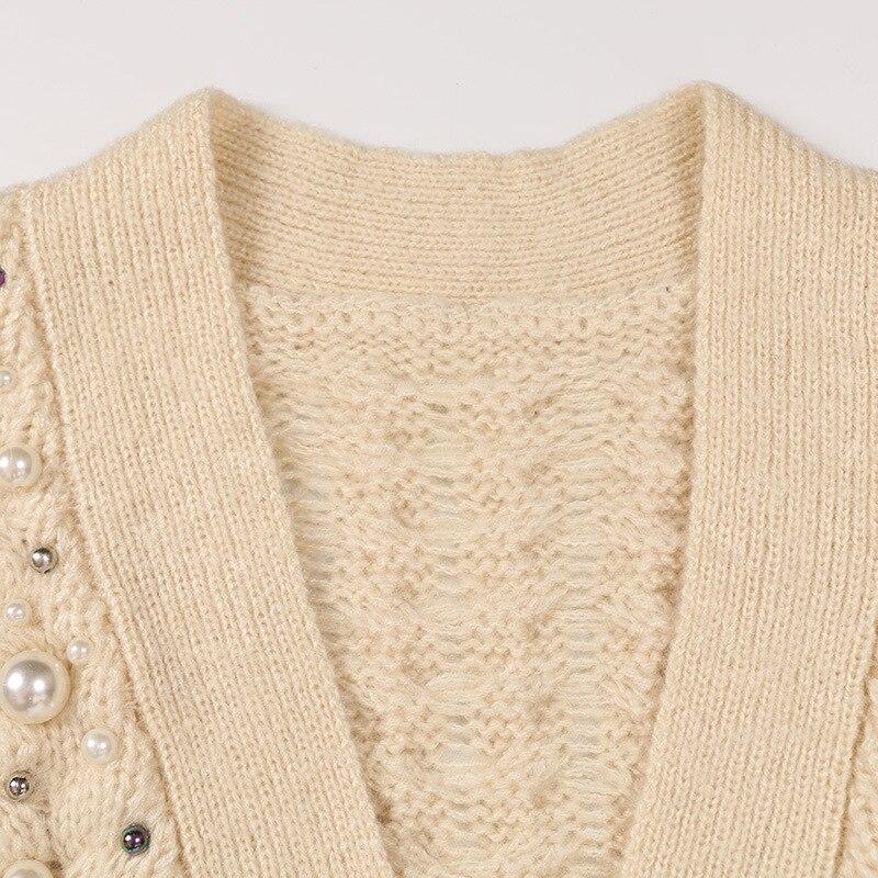 Manches À De Longues Nouveau En V Tricotée Col Femmes Cardigan Veste Noir Tricot Automne 2019 Mince Bleu Manteau kaki Perlée hiver 4txEwnq