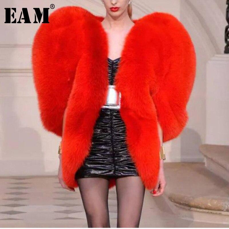 EAM 2019 New Spring Heart Pattern Personality O Collar Zipper Sleeveless Exaggeration Coat Women Fashion