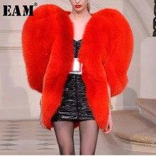 [Eem] 2020 yeni bahar kalp desen kişilik O yaka fermuar kolsuz abartı ceket kadın moda gelgit OB140