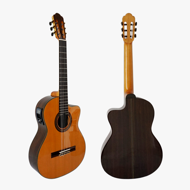 Free hard case Vintage Design Cutway Shape Solid Top Electrical Classical Guitar nylon strings wholesale price SC02CRCE orphee nx35 c full set black nylon classic classical guitar strings hard tension 028 045