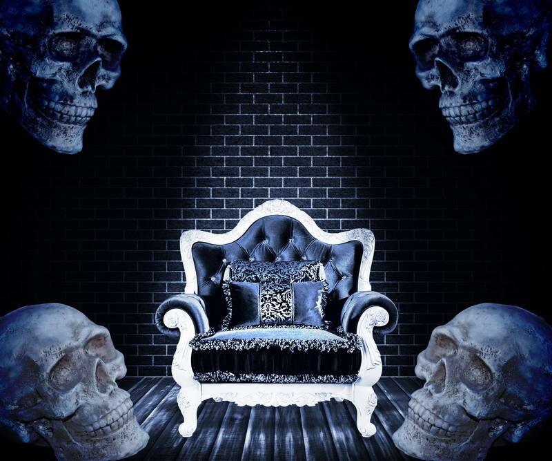 10x10ft Indoor Dark Room Bricks Wall Sofa Skulls Halloween