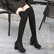 BYQDY Spring Autumn Women Boots Suede High Heels Thigh Flock Over The Knee Winter Ladies Party Shoes