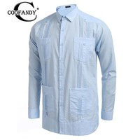 COOFANDY 2017 Newest Male Clothes In Men S Casual Shirts Long Sleeve Solid Natural Color Shirts