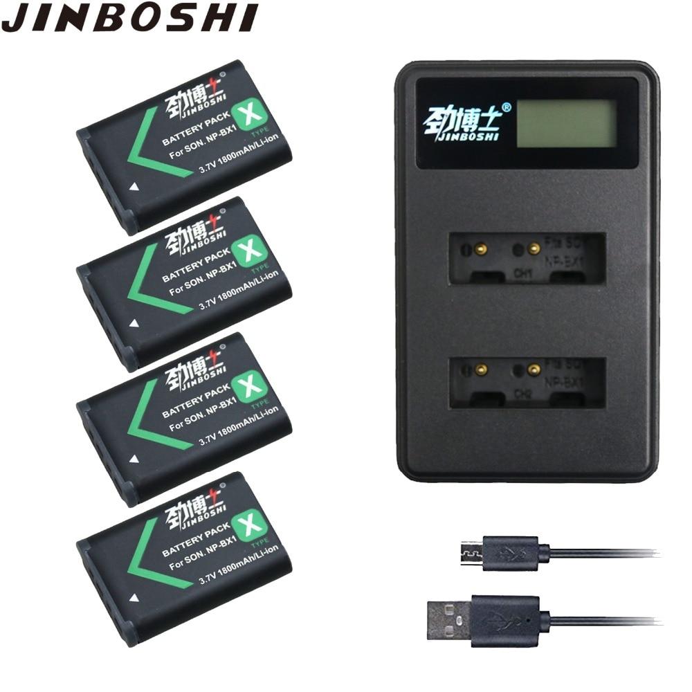 4X NP-BX1 NPBX1 NP BX1 Li-ion Battery + 2-Slots USB Charger For Sony FDR-X1000V X3000 HDR-AS10  AS20 AS30 AS50 HDR-AS100V AS200V
