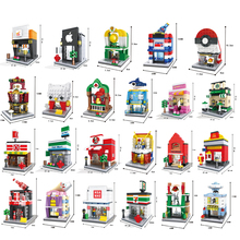 Blocos de construção de Mini Modelo Loja de Rua Da Cidade Série de Tijolos Crianças Brinquedos Figura Educacional Brinquedos Para As Crianças Compatíveis Com Legoe