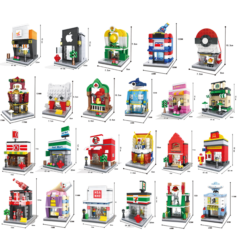 Building Blocks Mini Street Model Shop City Series Brick Kids Figure Toys Educational Compatible With Legoe Toys For Children hsanhe mini micro street building blocks educational toys compatible with legoe blocks city bricks gifts for children kids