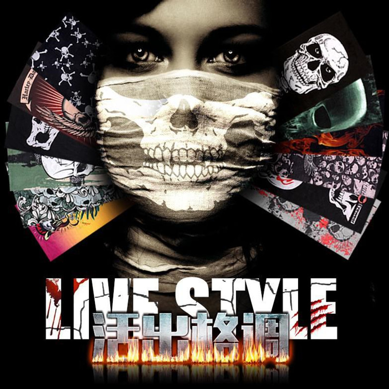 New 2017 Skull Bandana Bike Camouflage Tube Neck Face Mask Headscarf Spiderman Sport Headband Pick Skull Print Bandanas yoursfs 18k rose white gold plated letter best mum heart necklace chain best mother s day gift