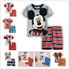 Fashion Short Sleeved+Pants Cotton Mickey Home Children Clothing Set Summer Kids Girl Boy Clothes High Quality Cartoon Pajamas