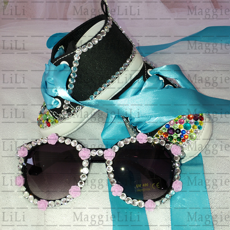 Bling babys Sets sunglasses Shoes diamond Party Baptism Kids Baby Girls boy Shoes Rhinestone Canvas ribbon First Walker shoes