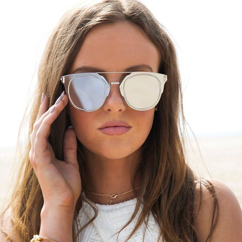 c993a56dde6d JUSTRUE Fashion Flat Mirrored Sunglasses Brand Design Celebrities Sun  Glasses Metal Frame Trends Shades for Women Men-in Sunglasses from Apparel  Accessories ...