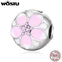 WOSTU 100 925 Sterling Silver Magnolia Bloom Clip Beads Fit Original Pandora Charm Bracelet Authentic Luxury