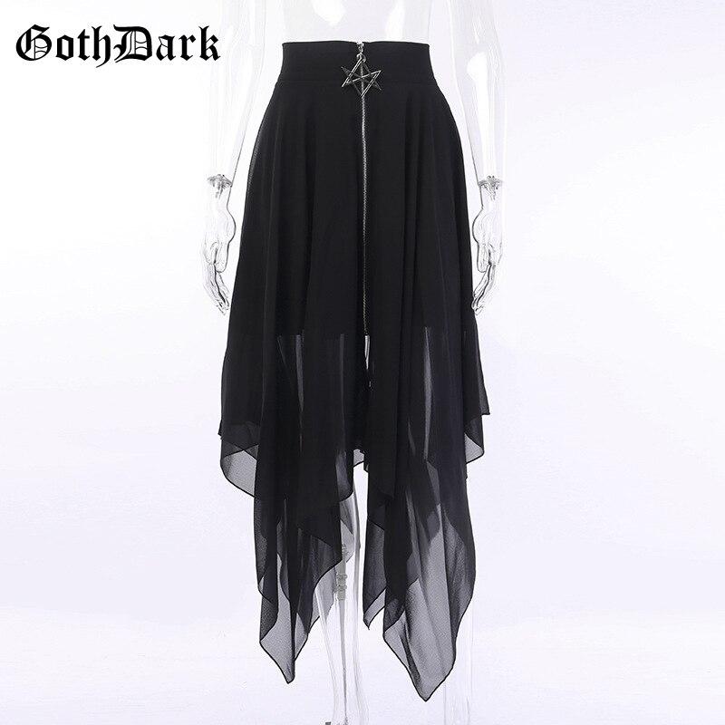 Goth Dark Grunge Black Mesh Gothic Long Skirts Punk Asymmetrical Zipper Transparent Pentagram skirts woman fashion 2019 Fashion in Skirts from Women 39 s Clothing