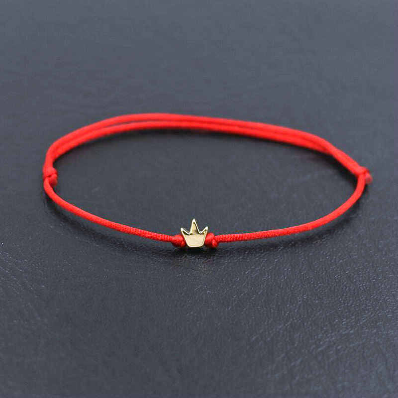 Gold Color Copper Heart  Star Crown Simple Red Thread String Bracelet For Women Men Handmade Jewelry