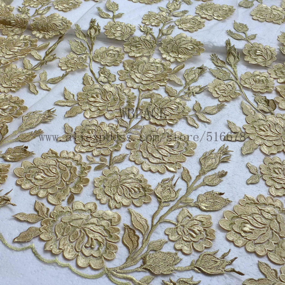 Hot sales pink silver gold hight quality 3D flowers on netting embroidered dress sequins lace fabric