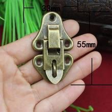 20Pcs 55 * 33 Antique Wooden Box Hasp Gift Box Hanging Hardware Lock Buckle metal buckle Black Box KF572