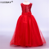 High Quality Lace Girl Dresses Children Dress Sequined Princess Dress Length To Floor Baby Girl Wedding