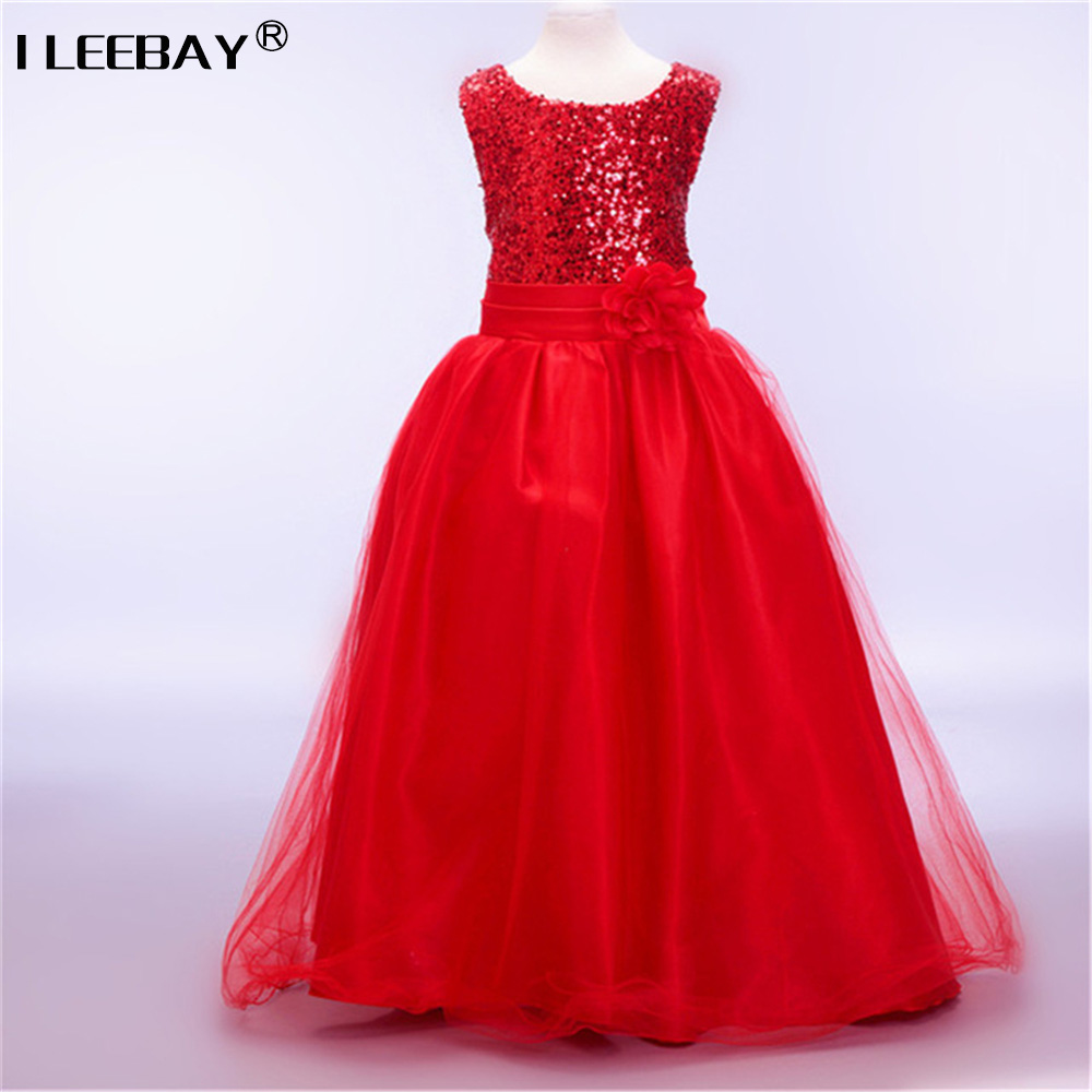 Buy Cheap High quality Lace Girl Dresses Children Dress Sequined Princess Dress Length to Floor Baby Girl Wedding Dress Birthday Costume