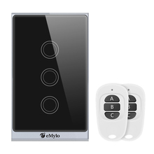eMylo Smart WiFi Touch Panel Wall Light Switch Wireless Remote Control 3 Gang Timing Function Work with Alexa Echo, Google Home