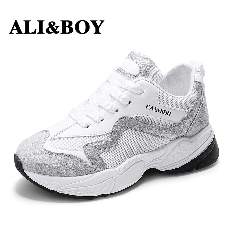 7826bebdc0e ALIBOY White Women Running Shoes Disruptors Sport Shoes Non Slip Damping  Summer Ladies Outdoor GYM Trainers Tennis Shoes Women