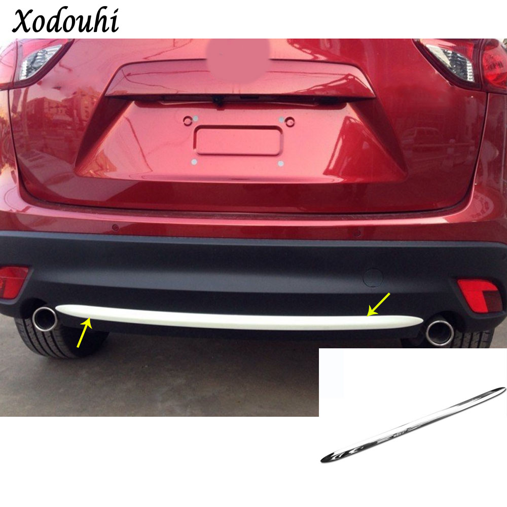 For Mazda CX-5 CX5 2013 2014 2015 2016 car body protection bumper ABS chrome trim rear back tail bottom hoods panel parts 1pcs for mazda cx 5 cx5 2nd gen 2017 2018 interior custom car styling waterproof full set trunk cargo liner mats tray protector