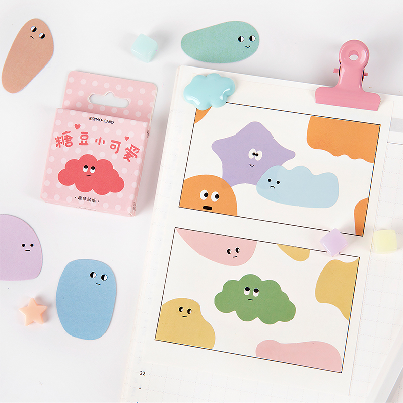 45pcs/pack Candy Beans Memo Stickers Pack  Kawaii Planner Scrapbooking Stickers Stationery Escolar School Supplies