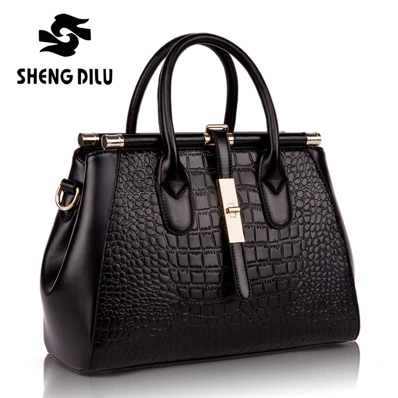 Luxury Genuine Leather Bag Women Crocodile Designer Handbags Women Famous Brand Shoulder Bags Female High Quality Casual Tote цена