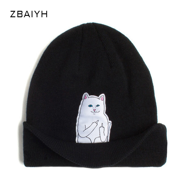 New Brand Knitted Skullies White Mean Cat Patch Label Women Winter Hats gorro masculino Beanies Caps Balaclava Bone Bonnet touca
