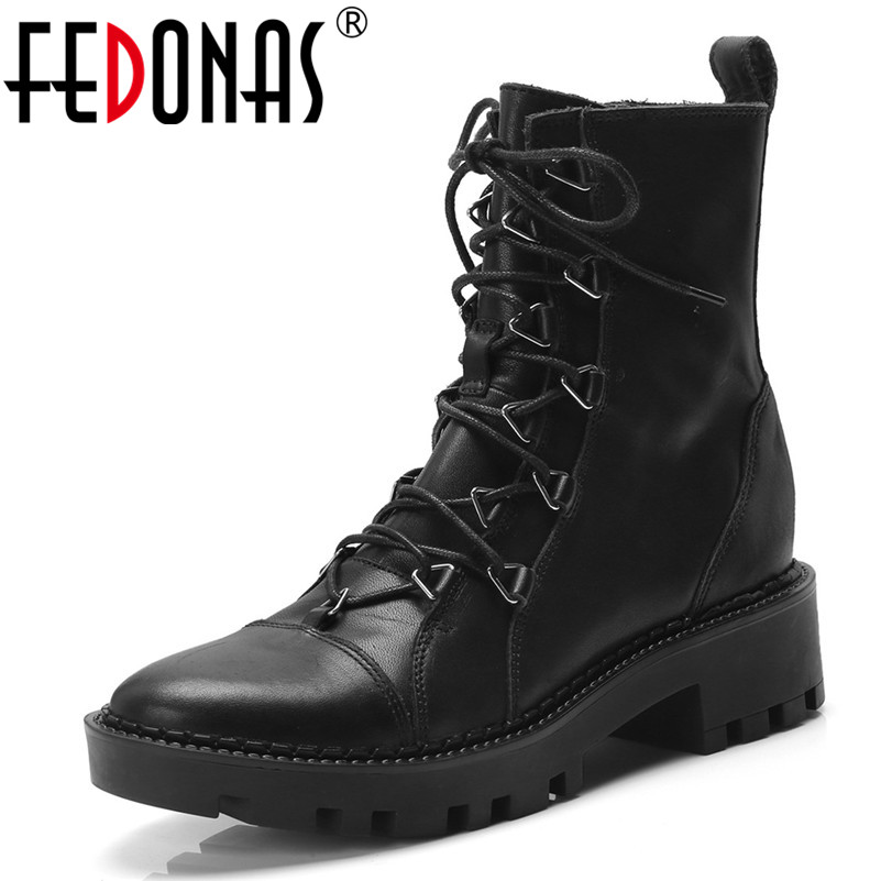 FEDONAS Band Women Ankle Boots High Heels Autumn Winter Martin Shoes Woman Round Toe Genuine Leather Motorcycle Boots цена 2017