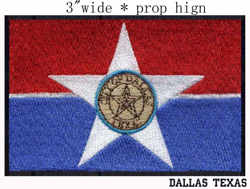 Dallas Texas Usa Flag 3wide Embroidery Patch For Rainbowsunshine