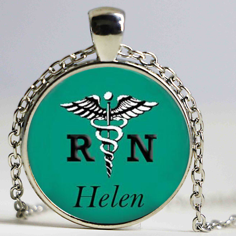 Personalized RN Nurse Appreciation Gift Registered Nurse Gift On Glass Photo Pendant Necklace Fashion Nursing Nurse Pinning Gift
