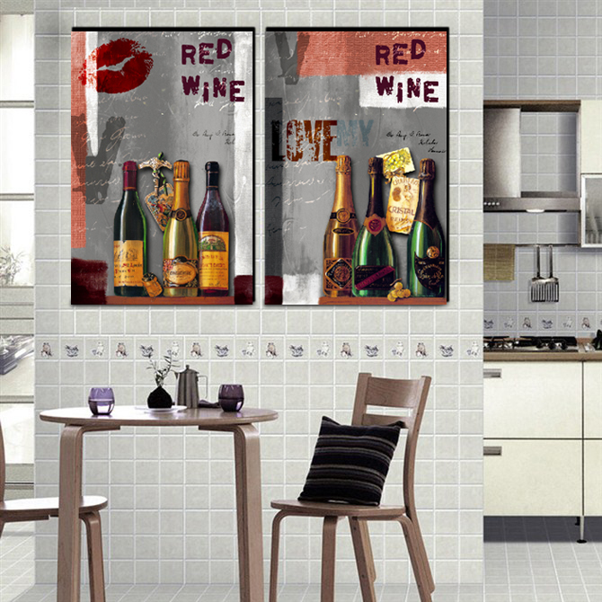 kitchen room decoration red wine wall decor pictures vintage still life print oil painting dinning room