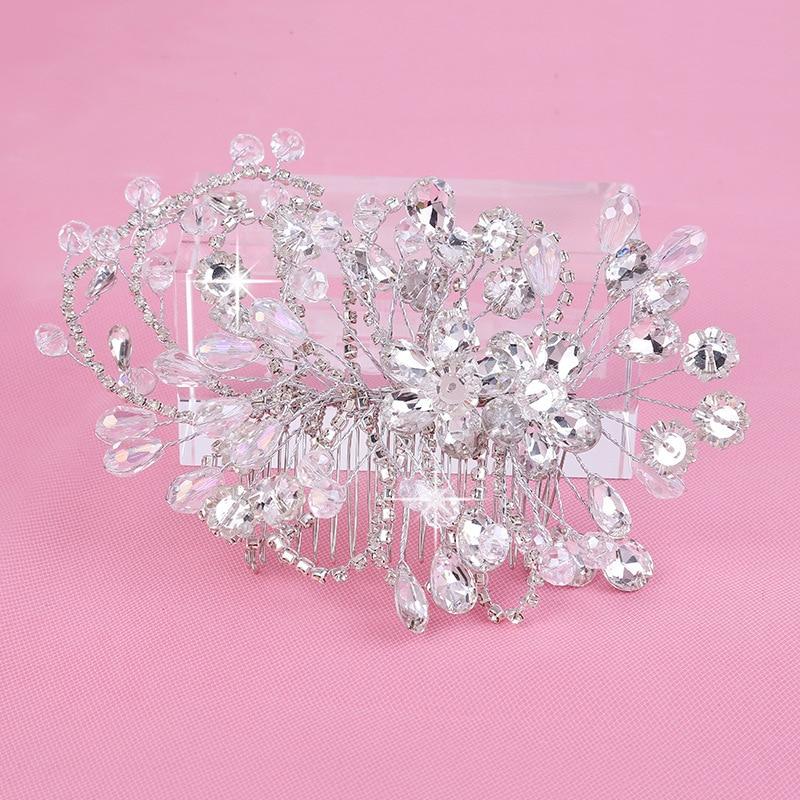 JaneVini Shiny Rhinestone Hair Tillbehör Crystal Hair Tiaras för - Bröllopstillbehör - Foto 6