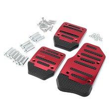 3Pcs Red Car Styling Car Pedal Pads Non Slip Car Aluminum Manual Transmission Red Pedal Cover Set Kit Brake Clutch Accelerator