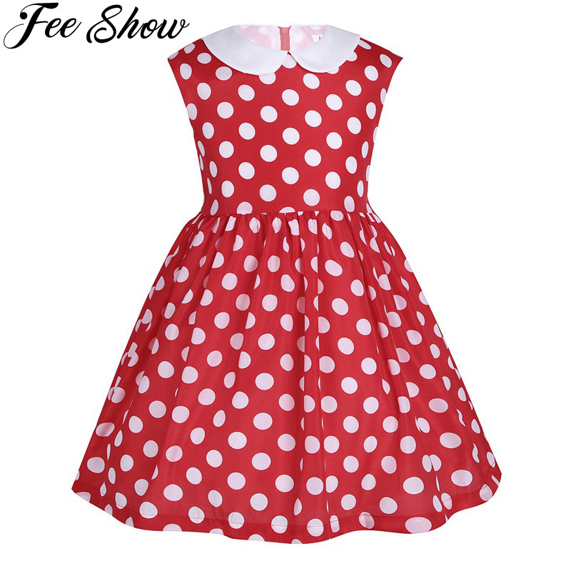 12 M-6Y Cute Baby Toddler Girls Sleeveless Lapel Polka Dots Birthday Party Dresses Christmas for Girls Wear Newborn Pink Red modella personal purse case pink polka dots 2 count