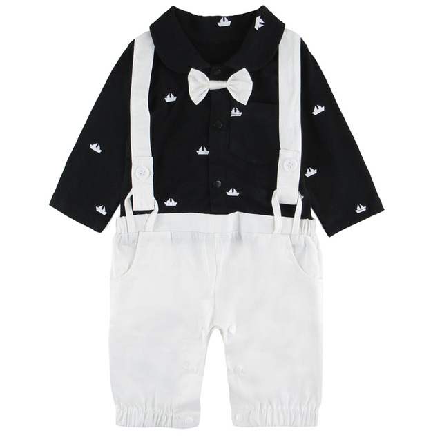 48fb925dce3 GOKU Baby Boys Boat Print Gentleman Rompers Newborn Cool Christmas Playsuits  Long Sleeve Birthday Party Clothing with Bowtie