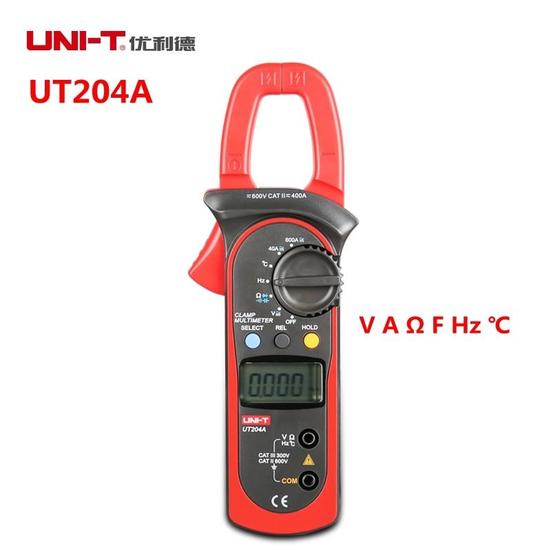 UNI-T UT204A Digital Clamp Meter Multimeter Auto Range With Volt Amp Ohm Cap Celsius Herz Temperature Testers hd hd90b auto range digital clamp meter multimeter amp volt ohmmeter w frequency capacitance