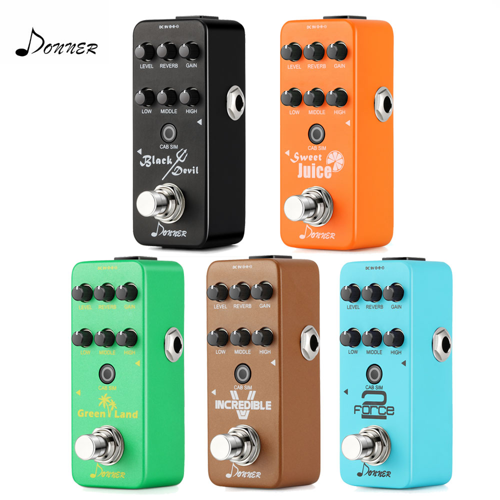 Donner Digital Mini Preamp Guitar Effect Pedal Circuit Preamplifier Built-in Reverb Cab Simulator Amp Sound Accessories
