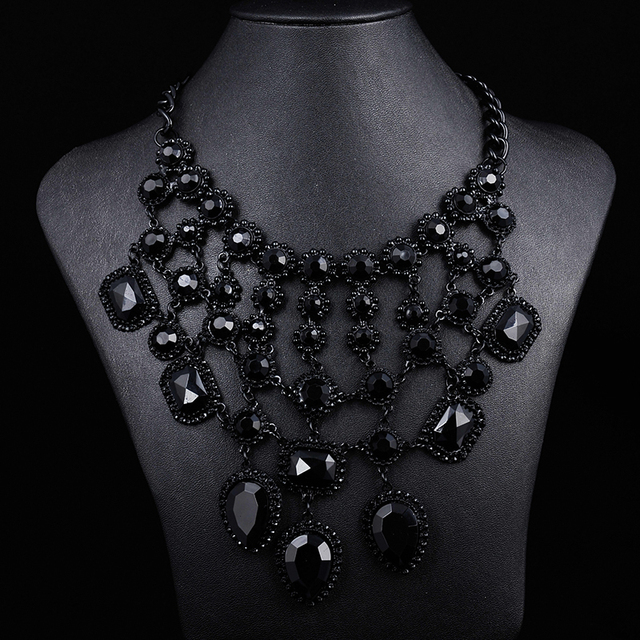 2014 ZA women black gem crystal necklaces & pendants cross statement necklace choker necklace jewelry accessories 8749