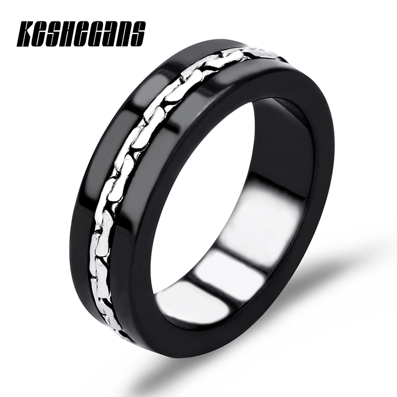 Top Quality Ceramic Ring Concise Classical Wedding Ring For Women Female Ring Vintage Statement Fashion Jewelry Black White