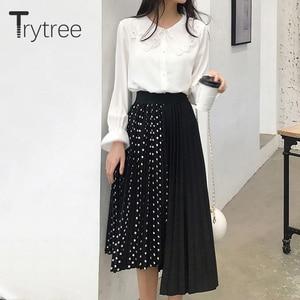 Image 4 - Wypróbuj drzewo lato jesień kobiety Dot spódnica na co dzień poliester szyfon asymetria plisowana spódnica z rozciągliwą talią moda spódnice plus size