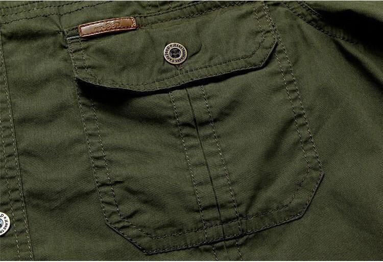 Plus Size xxxxxl Summer Men\'s 100% Cotton Shirts Solid Color Fitness Dress Short Sleeve Shirts Casual Outdoor Men AFS JEEP 5001 (13)